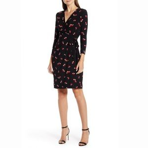 NWT Anne Klein Black Chatterly Rose Wrap Dress S